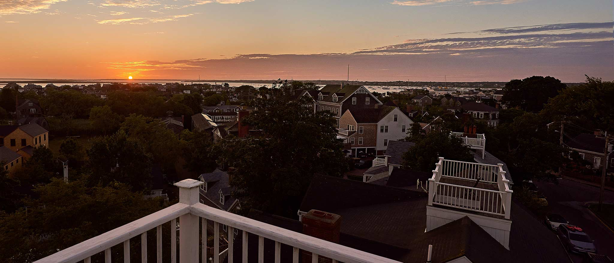Sunset from the widows walk on Nantucket at the Cliff Lodge